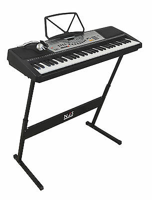 NJS 61 Key Digital Portable Keyboard Piano Mains & Battery Portable With Z Stand