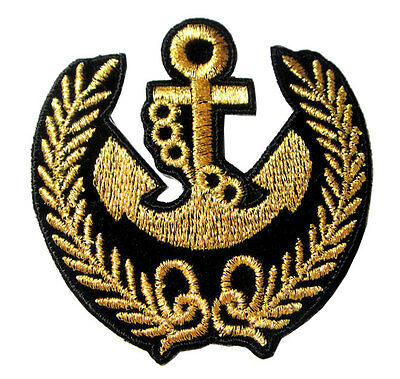 Beautiful Golden Anchor & Laurel Wreath Embroidered Iron on Patch Free Shipping