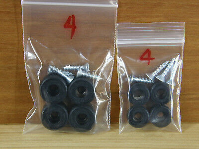 FIRM Sample Pack 4 SMALL + 4 MED Black Silicone Rubber Bumper Feet (with Screws)