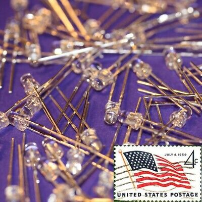 100x Purple UV 3mm Round Top LEDs Water Clear Light Lamp LED USA