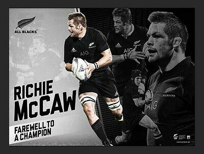 Richie McCaw Retirement New Zealand All Blacks 2015 Champions Rugby Print Framed