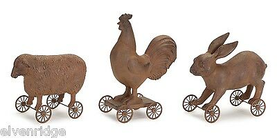 Reproduction of 1800s pull toy set of 3 farm animals wheels decor only NOT a toy