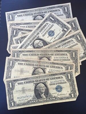 1957 1957A or 1957B One Dollar Well Circulated Silver Certificate Note - $1 Bill