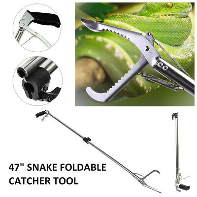 """47"""" Reptile Snake Tongs Stick Grabber Foldable Catcher Wide Jaw Tool Heavy Duty"""