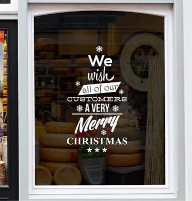 Wish Customers Merry Christmas Shop Window Sticker Festive Xmas Display Decal