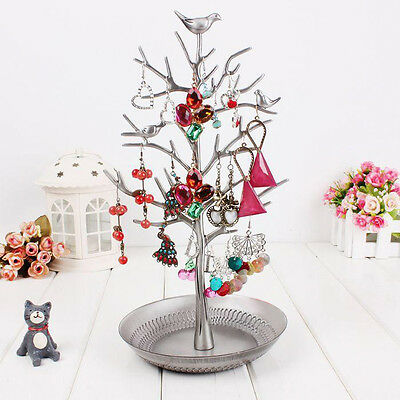 Jewelry Tree Display Organizer Stand Metal Necklace Earring Rack Christmas Gift