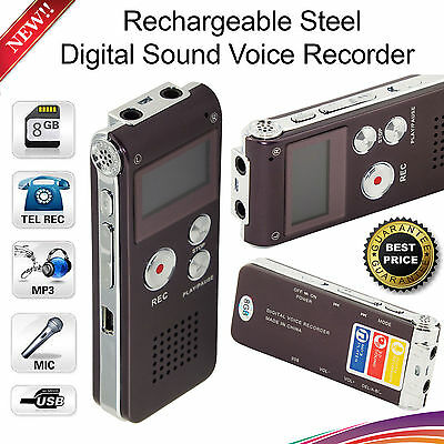 8GB Rechargable Digital Sound Voice Recorder Dictaphone MP3 Player of Steel Body