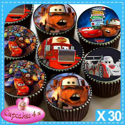 30 X  Cars Mixed Images Edible Cupcake Toppers C185