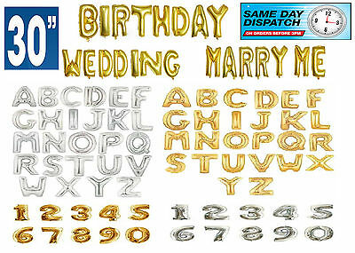 """30"""" Gold & Silver Alphabet Number Letter A-Z Foil Air Balloons Birthday Party"""