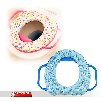 Kids Baby Soft Padded Potty Training Safety Toilet Seat Colourful With Handles