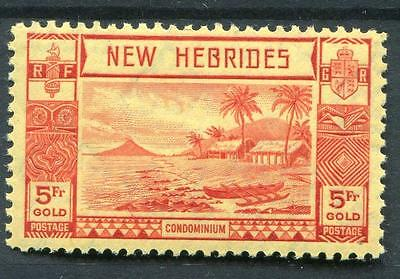 New Hebrides 1938 5f red on yellow SG62 MNH