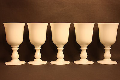 Estate Collection Of 5 Portieux Valleryshtal Pv White Opaline Small Wine Glasses