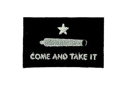 Patch ecusson brode backpack drapeau flag come and take it noir thermocollant