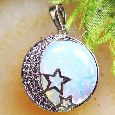 Beautiful Wrapped Opal Opalite Plated-silver Star Pendant Bead LL5689
