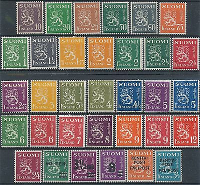 Finland 1930-1948 MNH 33 stamps - Definitive Stamps - Definitives- Field Post