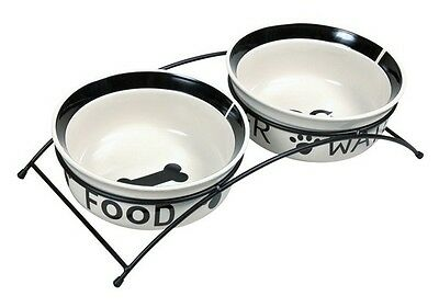 NEW Trixie Eat On Feet Raised Ceramic Bowl Set And Stand Size Choice White/Black