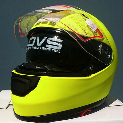 Full face road helmet, adult sizes, Fluoro Yellow, 5 tick Aust. Std, dual visor