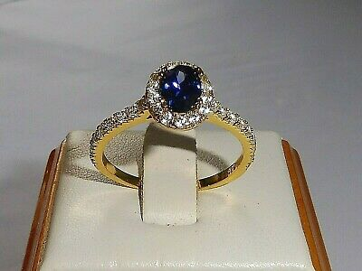 Ladies 925 Sterling Silver & 18 Carat Yellow Gold Tanzanite White Sapphire Ring