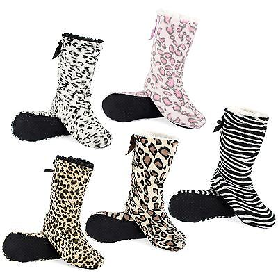 Indoor Slipper Boots with Gripper Sole, Animal Pattern