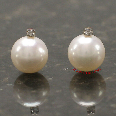 14k Yellow Gold Sparkling Diamond Genuine White Cultured Pearl Stud Earrings TPJ