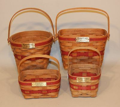 16 Longaberger Red Christmas Baskets 1986 - 2001 SIGNED DAVE INSTANT COLLECTION!