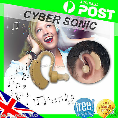 NEW BEHIND THE EAR Cyber Sonic SOUND AMPLIFIER HEARING AID AIDS WITH  BATTERIES