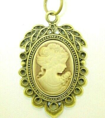New  Antique-look Lovely Lady in Brown Bronze-tone  CAMEO  Pendant Necklace