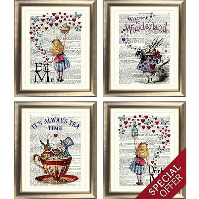 ALICE in WONDERLAND Print Antique Dictionary Page Wonderland TEA Party vintage