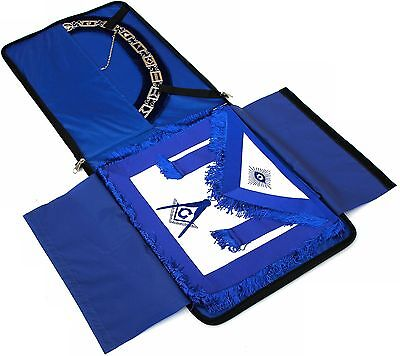 Masonic Regalia Master Mason Blue House Lodge Blue Backing Collar + Apron + Case