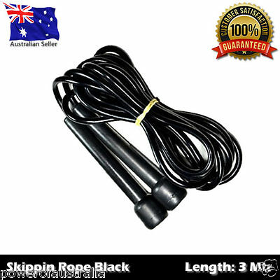 Speed Skipping Jump Rope Black 3Mtr - Boxing Cardio Mma Sport