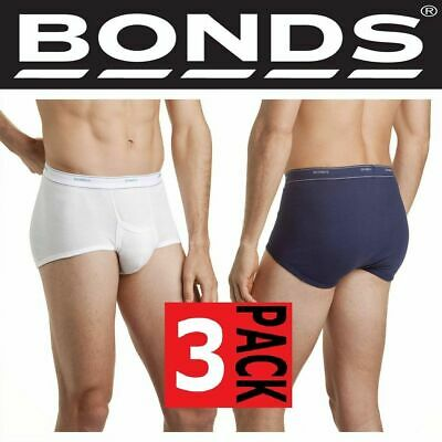 Mens 3 PACK BONDS Cotton BRIEF Men's Underwear with SUPPORT White Navy Undies