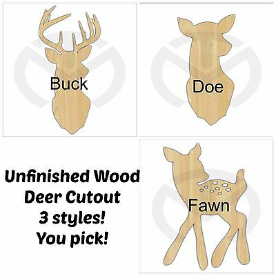 Unfinished Wood Deer Silhouette Buck, Doe or Fawn Laser Cutout, Home Decor