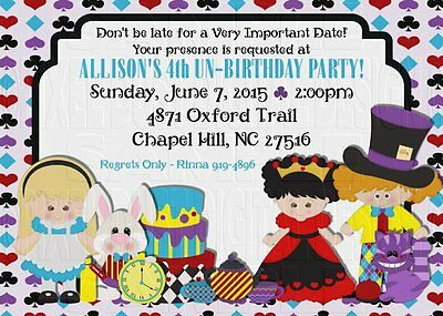 *Print Your Own* Alice In Wonderland Birthday Invitation *Choose Your Alice*
