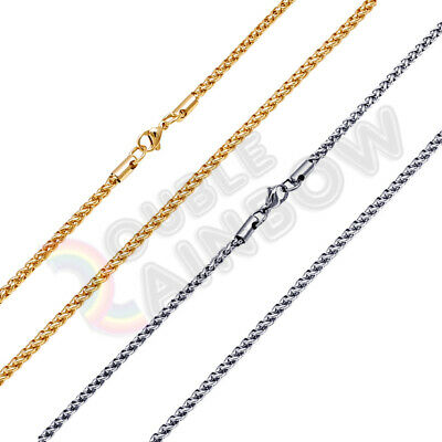 "C20 18-36""Men stainless steel Gold 3mm Wheat Braided Chain Necklace Link"