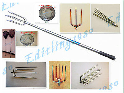 M8 Prong Harpoon Spear Gun Gig Fish Frog Salmon Eel Barbed Stainless / Spear rod