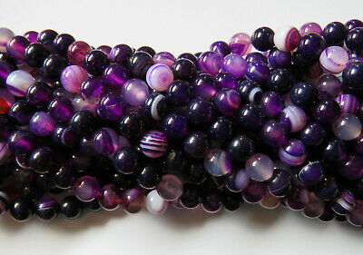 50pcs 8mm Round Natural Gemstone Beads - Purple Agate