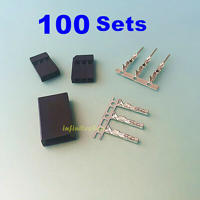 100 Sets  3 Pin Male Female  Housing & Pin Connector For JR Futaba
