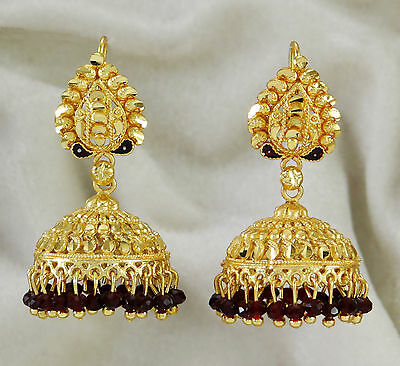 Traditional Indian Ethnic Gold Plated Dangle Jhumka Earrings Bollywood Jewelry