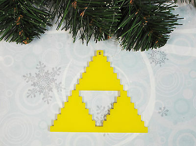 Yellow Triangle Ornament, pixel retro gaming 8-bit inspired by zelda triforce