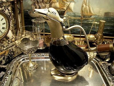 Duck Decanter Brass Plated Old Gold Glass Water Wine Jug Carafe New