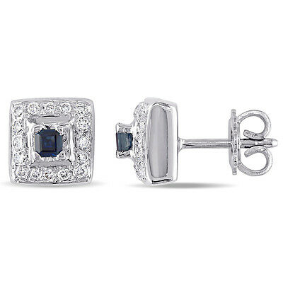 18k White Gold Sapphire and 3/4 Ct TDW Diamond Stud Earrings G-H SI1-SI2
