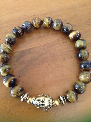 ॐCrystal Blissॐ Mens Tigers Eye Gem Yoga Reiki Healing Bracelet w Gold Buddha