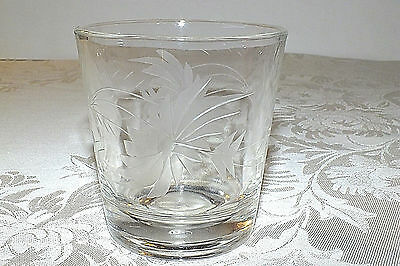 FEDERAL GLASS GRAY CUT LARGE FLOWER old fashioned GLASS  EXC
