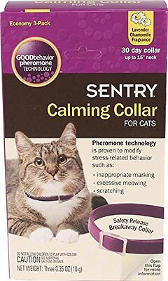 SENTRY Calming Collar for Cats, 3 Pack, New, Free Shipping