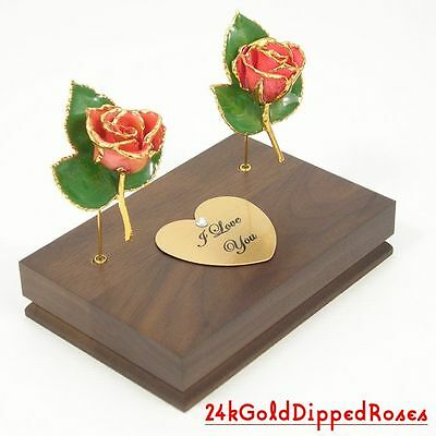 "Two 3"" 24k Gold Dipped Pink Roses & Stand (Free Anniversary Gift Box)"