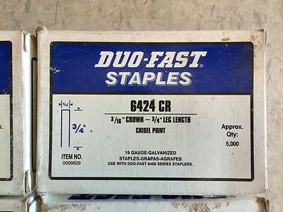 "500 pieces (6 strips) Duo-Fast  6424 CR 3/4"" galv Staples DUOFAST"