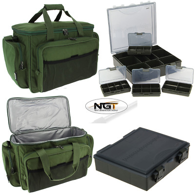 NGT Carp Fishing Insulated Tackle Bag 709 + Carp Tackle Box System With Dividers