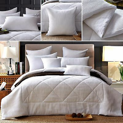 New Premium 7pcs 100% Cotton White Waffle Filled Quilt/Doona/Comforter Set
