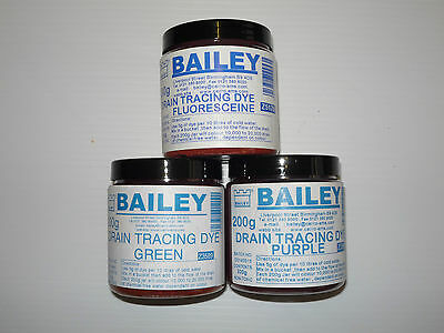 Bailey Brothers Drain Tracing Dye 200g Jars All Colours Available