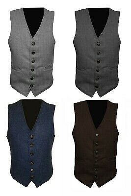 Mens Wool Tweed Slim Fitted Vest Waistcoat Blue, Brown, Green S M L XL 2XL 3XL